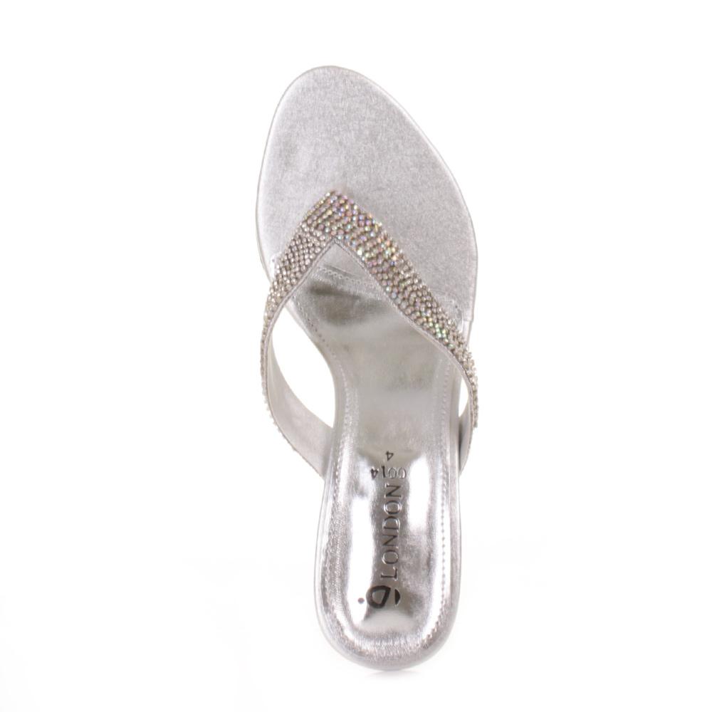 Women Wedding Silver Low Mid Heel Mule Diamante Gem