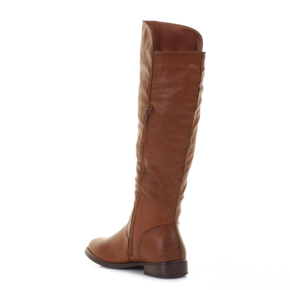 womens flat knee high gold zip smart