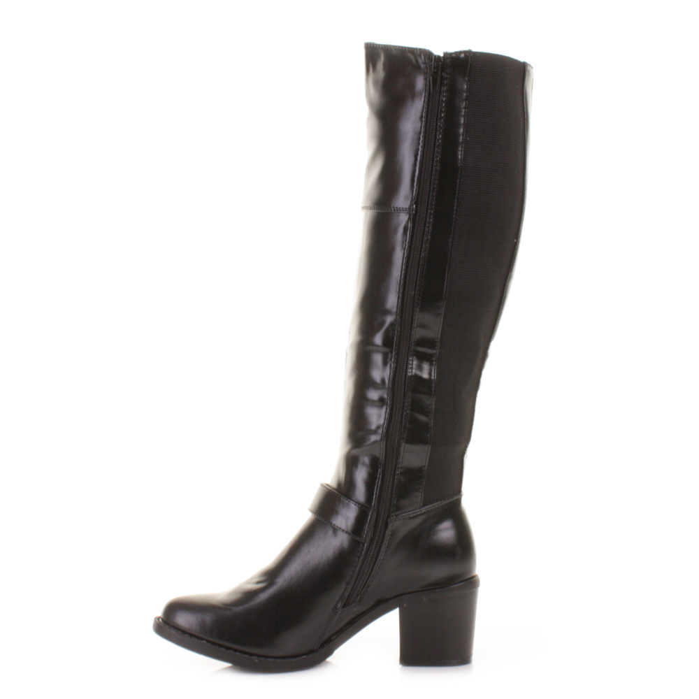 womens block heel buckle biker rock knee high leather look