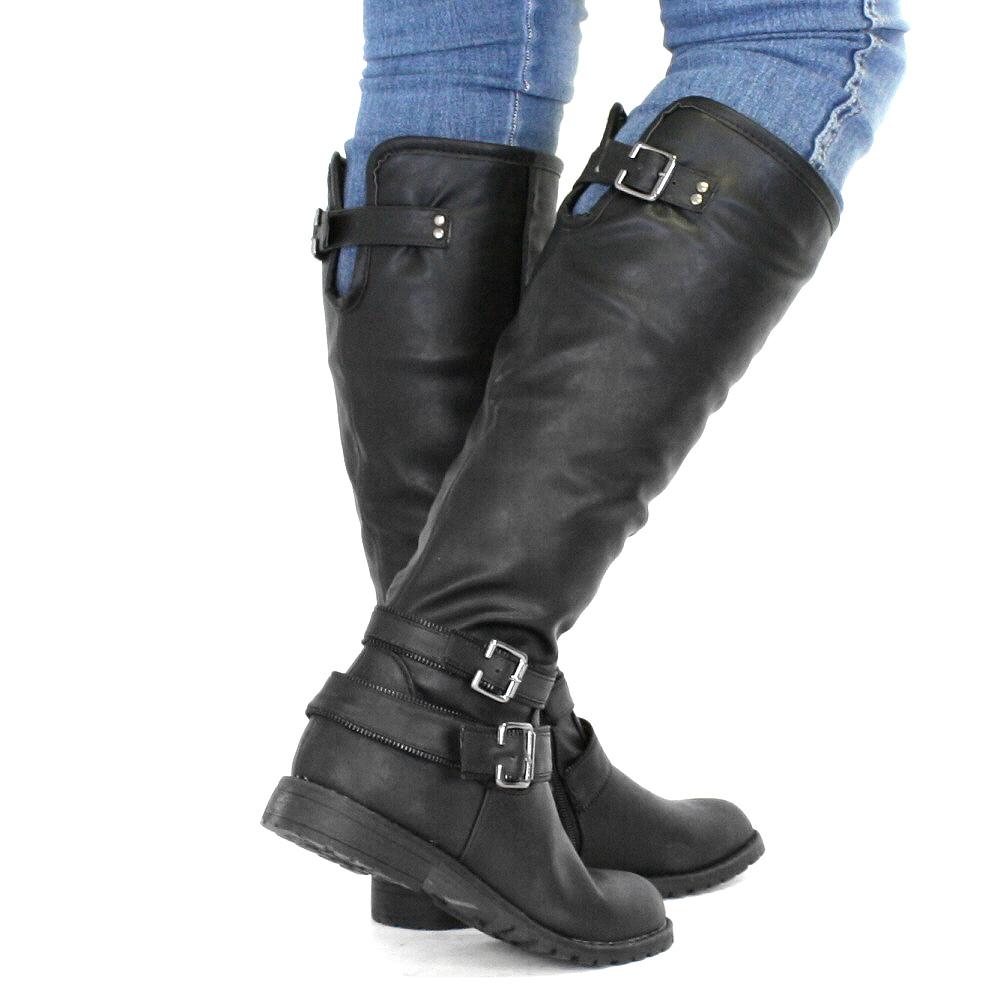 stiefel damen flach reistiefel biker stil schnallen schwarz leder 36 41 ebay. Black Bedroom Furniture Sets. Home Design Ideas