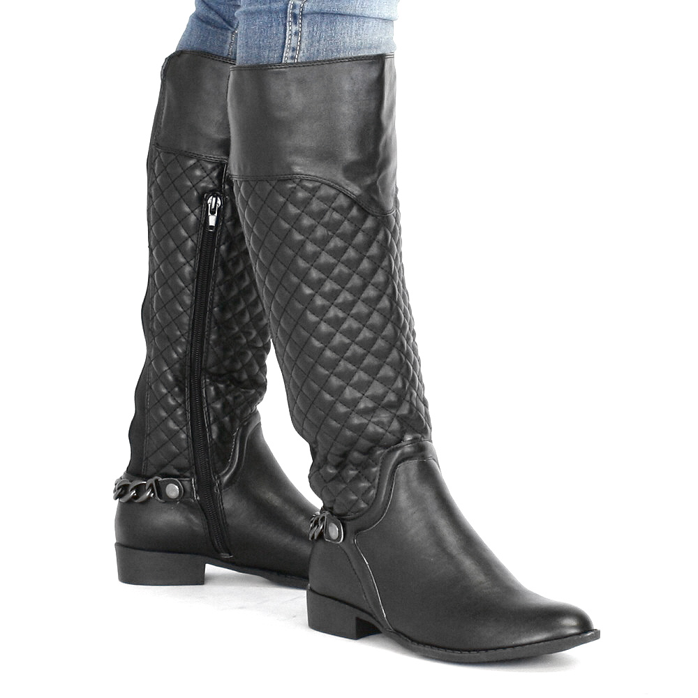 boots womens knee high black quilted chain flat low