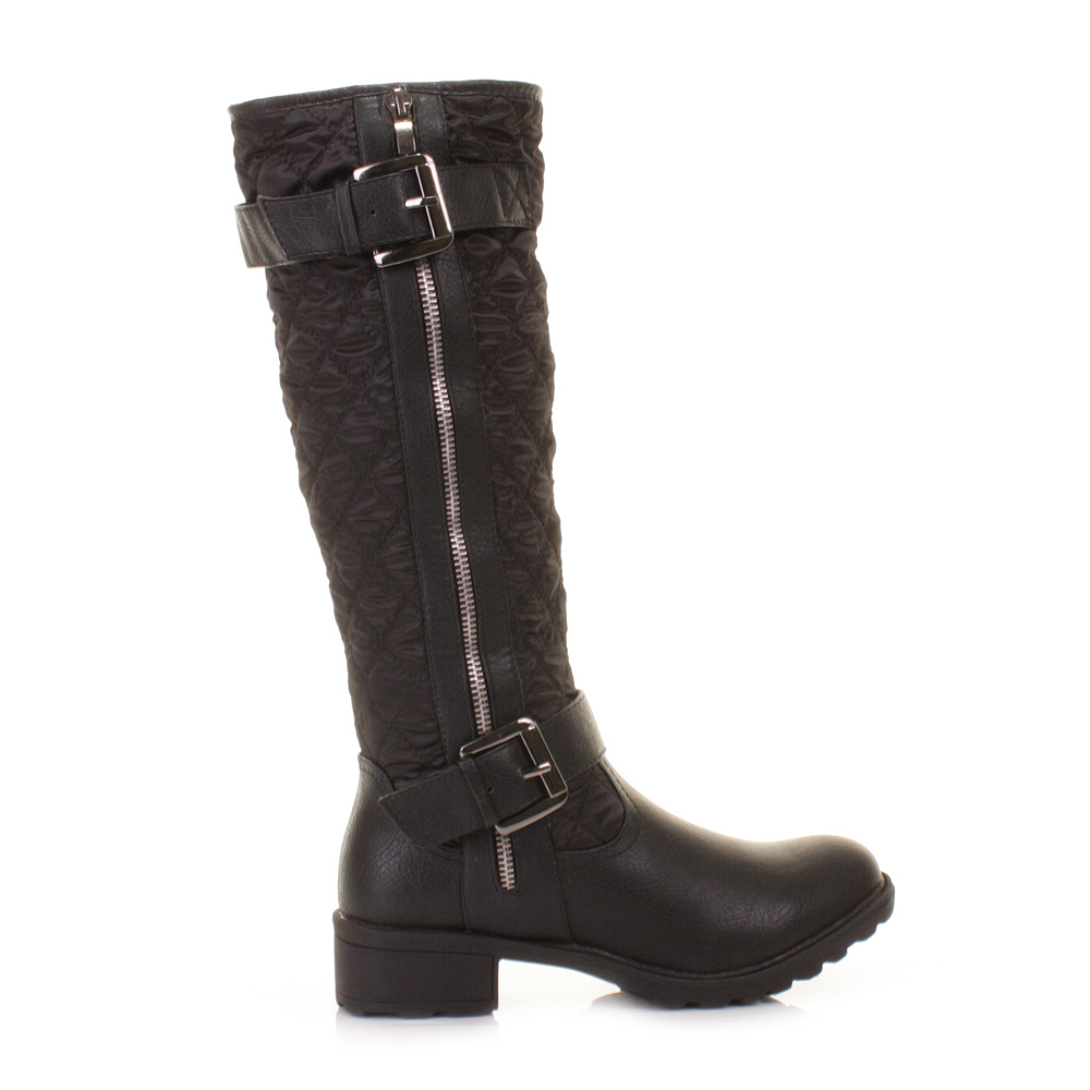 black knee high quilted biker style zip