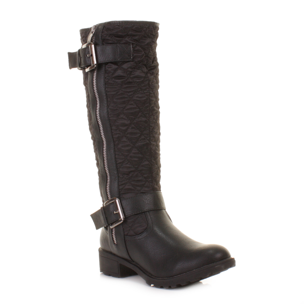 womens black knee high quilted biker style zip