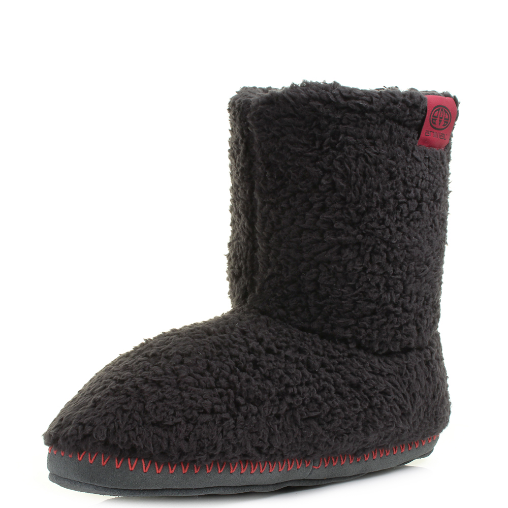 Mens Animal Bollo Mens Black Fleece Slipper Boots UK Size EBay