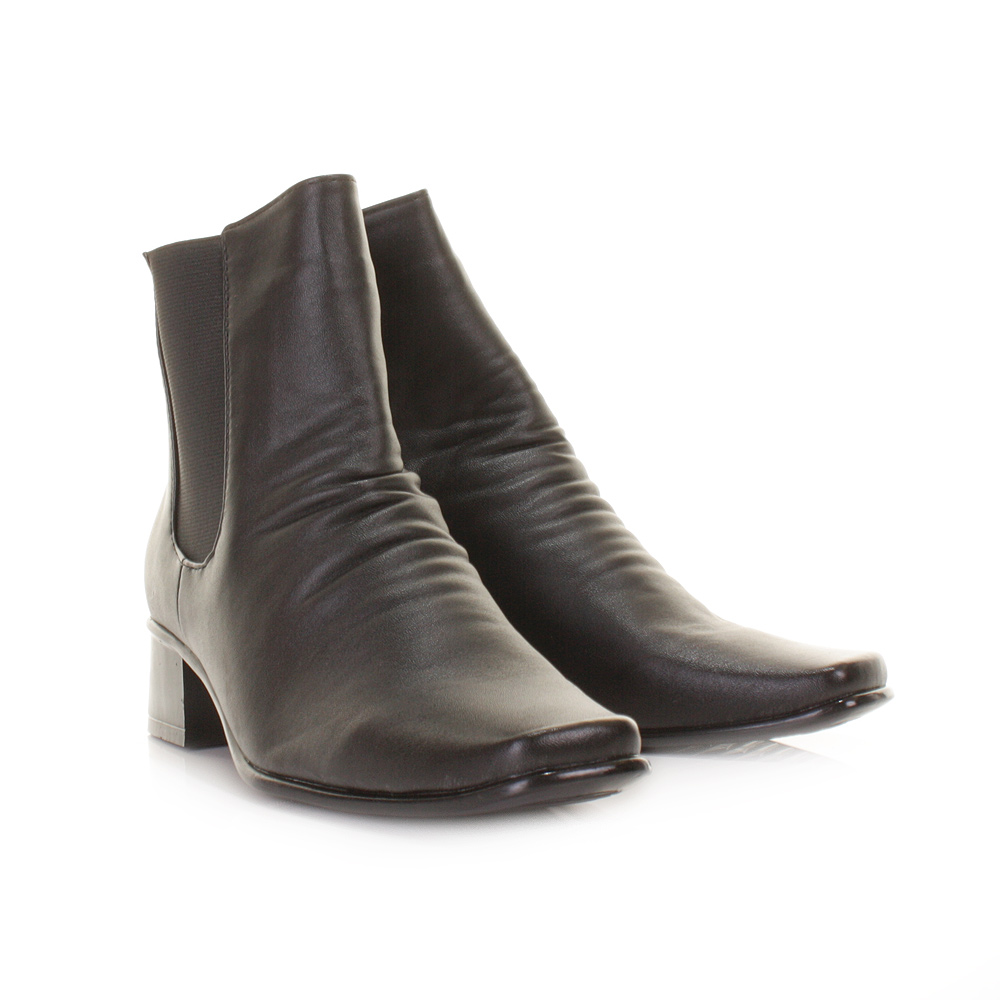 womens pull on black smart casual chelsea boots low