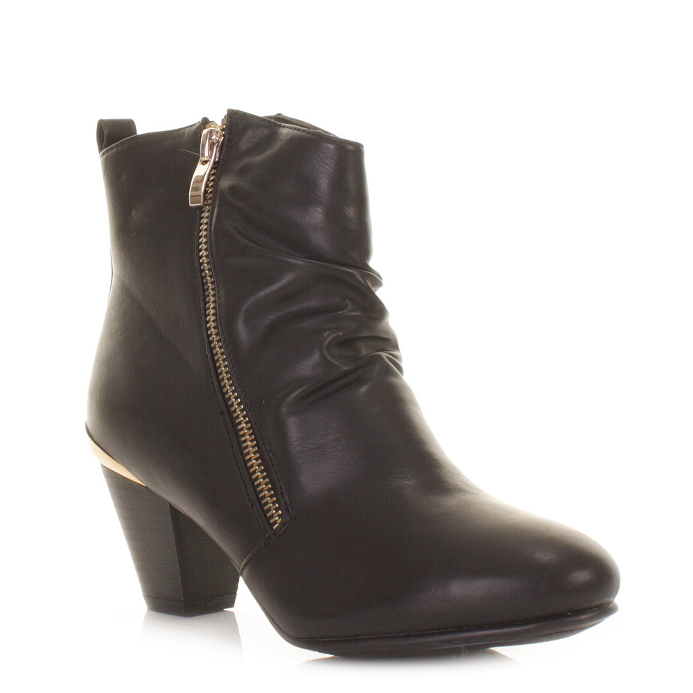 womens black leather style gold trim mid low heel ankle