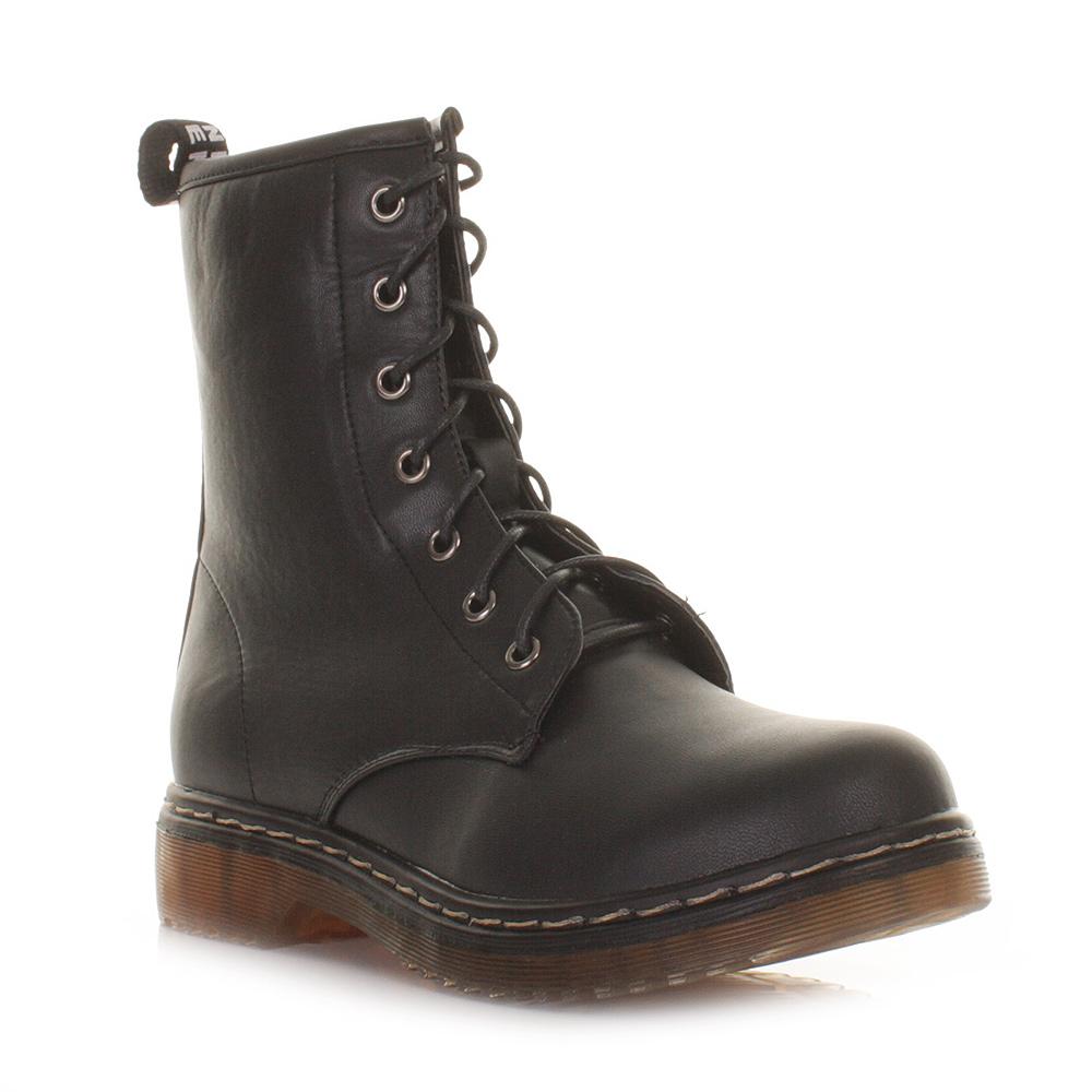 boots damen schwarz leder stil flach schn rschuhe punk. Black Bedroom Furniture Sets. Home Design Ideas
