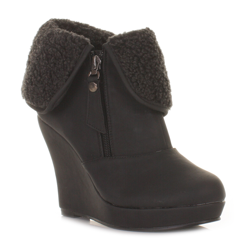 womens black xti wedge heel ankle boots fleece