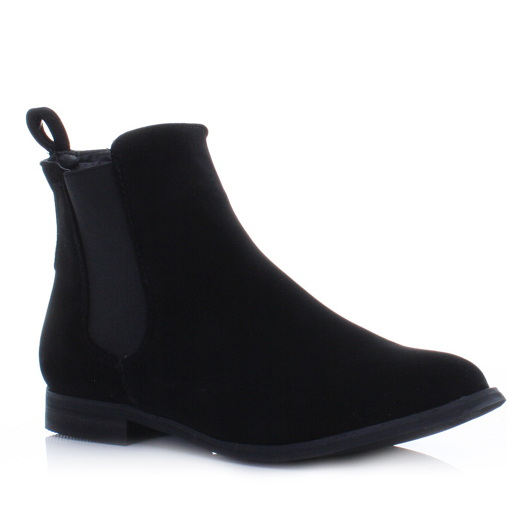 suede look chelsea gusset flat pull on ladies ankle boots size 3 8. Black Bedroom Furniture Sets. Home Design Ideas