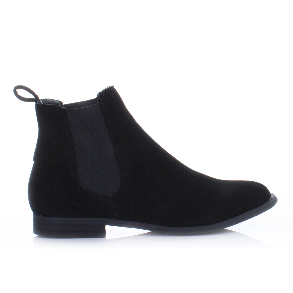womens black suede look chelsea gusset flat pull on ladies ankle boots size 3 8 ebay. Black Bedroom Furniture Sets. Home Design Ideas