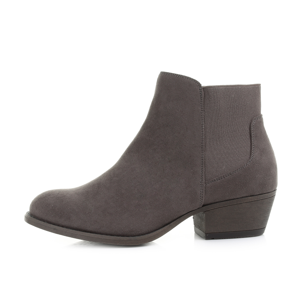 Ladies Womens Fashion Ankle Low Heel Chelsea Boots Suede Look Shu ...