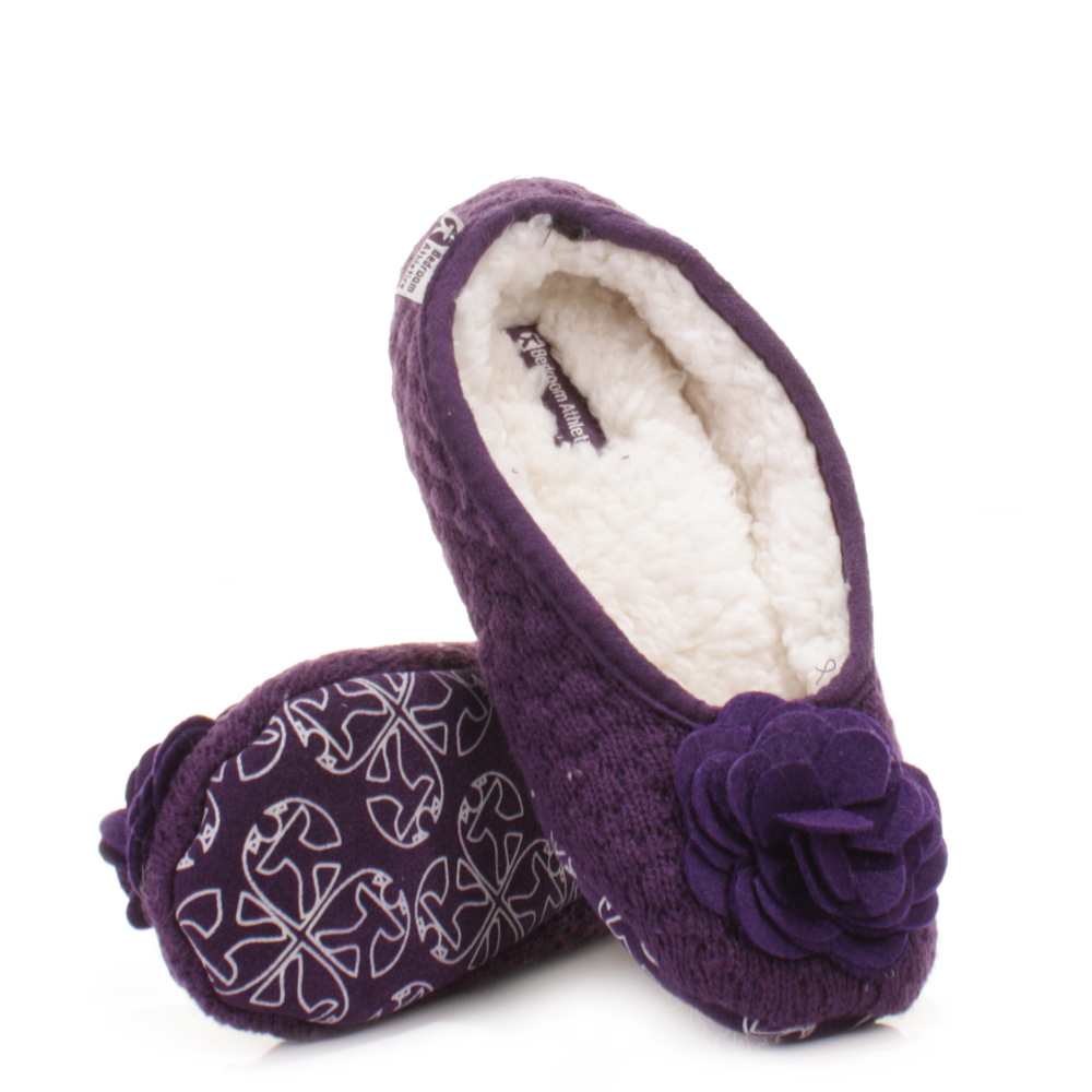womens bedroom athletics charlize grape fleece knitted slipper pumps size 3 4 8 ebay. Black Bedroom Furniture Sets. Home Design Ideas