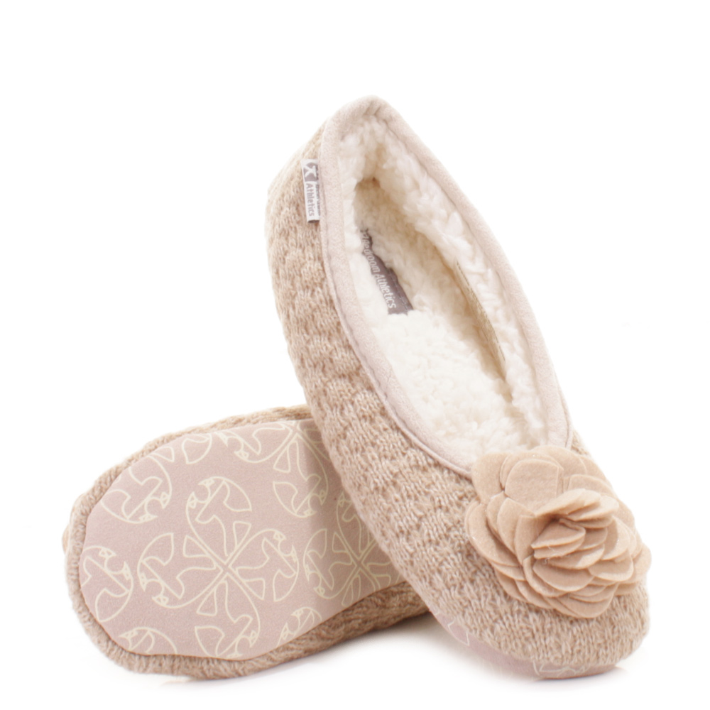 womens bedroom athletics charlize natural fleece knit slipper shoes size ebay