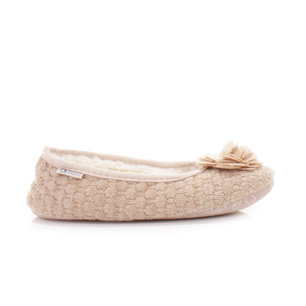WOMENS BEDROOM ATHLETICS CHARLIZE NATURAL FLEECE KNIT SLIPPER SHOES ...