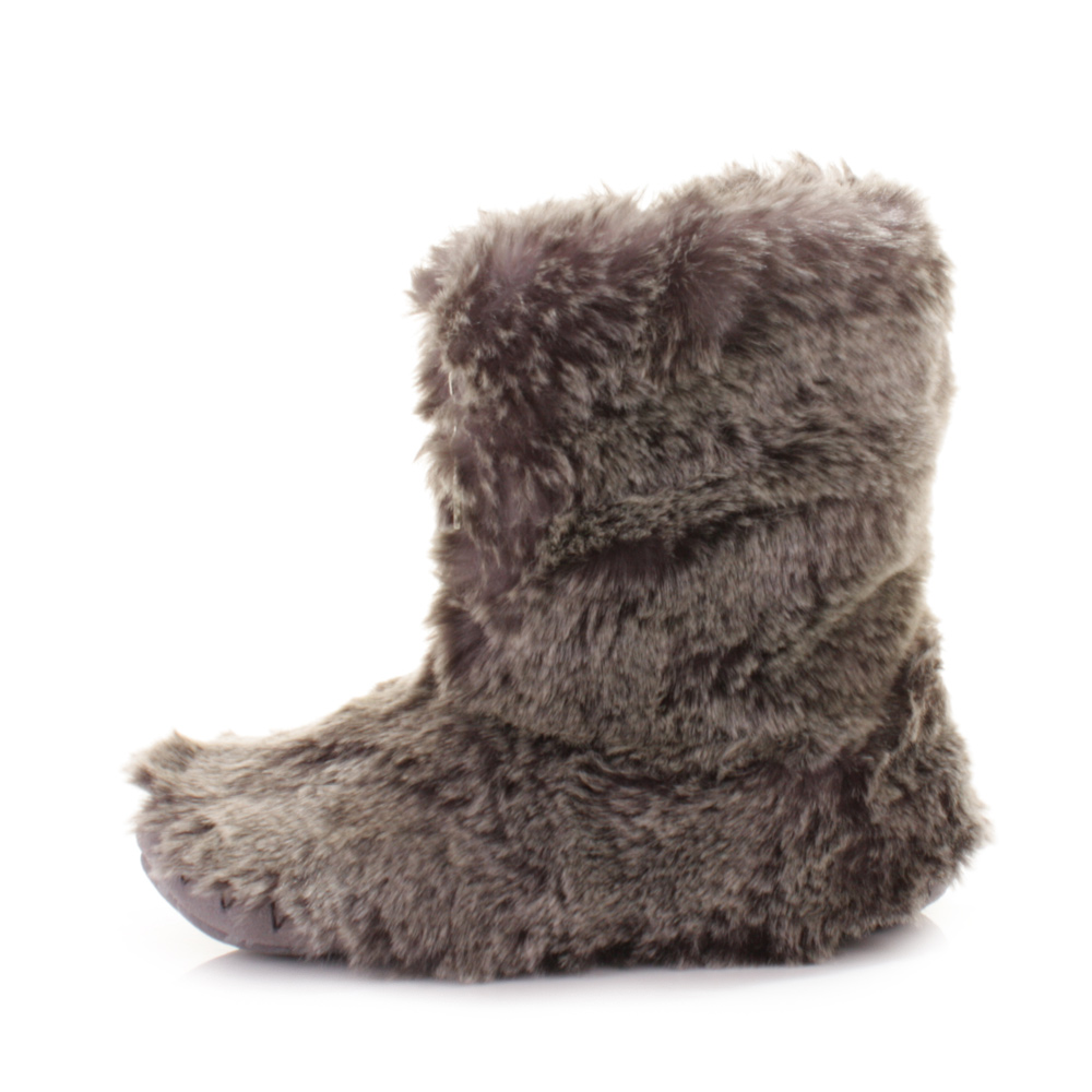 bedroom athletics cole grey wolf faux fur ankle slipper