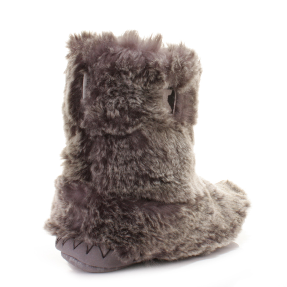 Bedroom Athletics Cole Slipper Boots Latest Bedroom Bed Bedroom Ideas Upholstered Headboard Lighting Design For Bedroom: BEDROOM ATHLETICS COLE GREY WOLF FAUX FUR ANKLE SLIPPER
