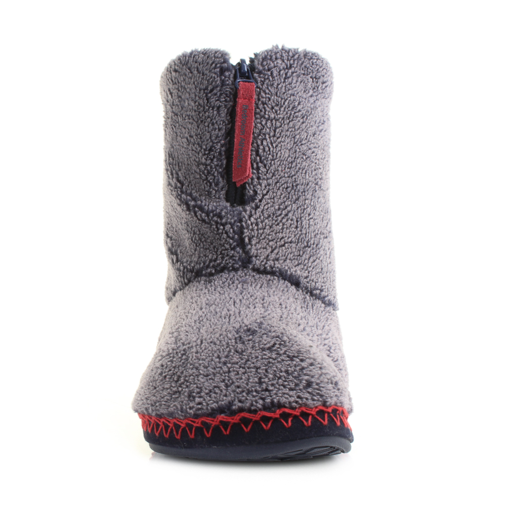 Mens Bedroom Athletics Crowe Washed Peacoat Snow Tip Fleece Slipper Boot Size