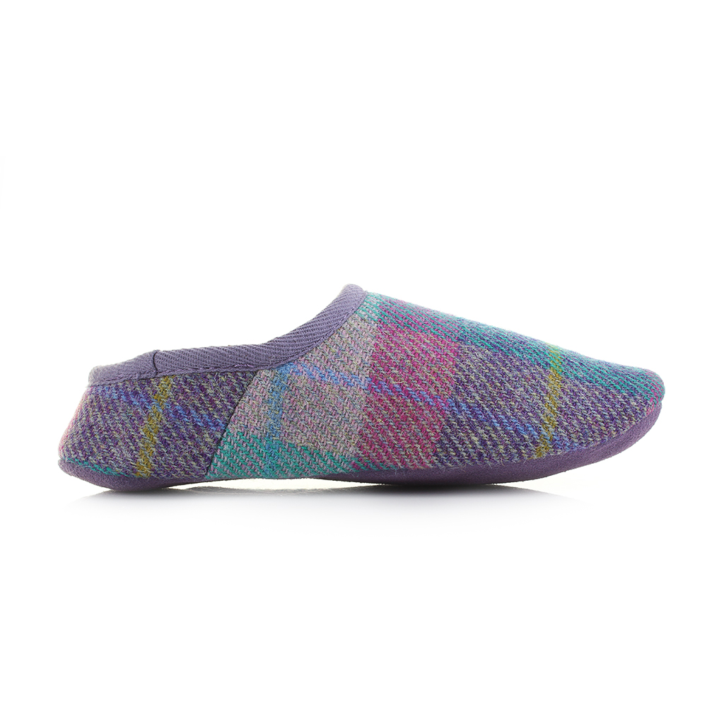womens bedroom athletics edith lilac blue harris tweed sheepskin slipper size ebay. Black Bedroom Furniture Sets. Home Design Ideas