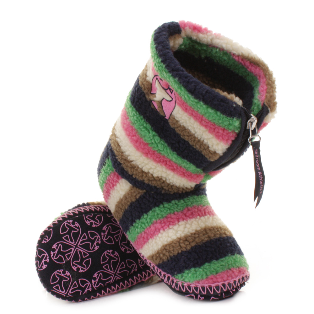 womens bedroom athletics johansson navy cream pink green slipper boots size 3 4 ebay. Black Bedroom Furniture Sets. Home Design Ideas