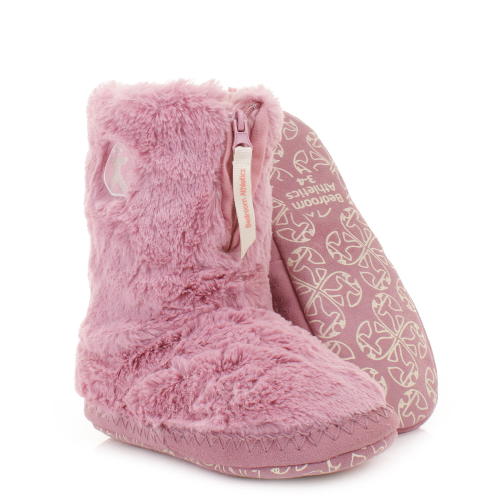 womens girls bedroom athletics marilyn pink faux fur slipper boots size 3 4 7 8 ebay. Black Bedroom Furniture Sets. Home Design Ideas