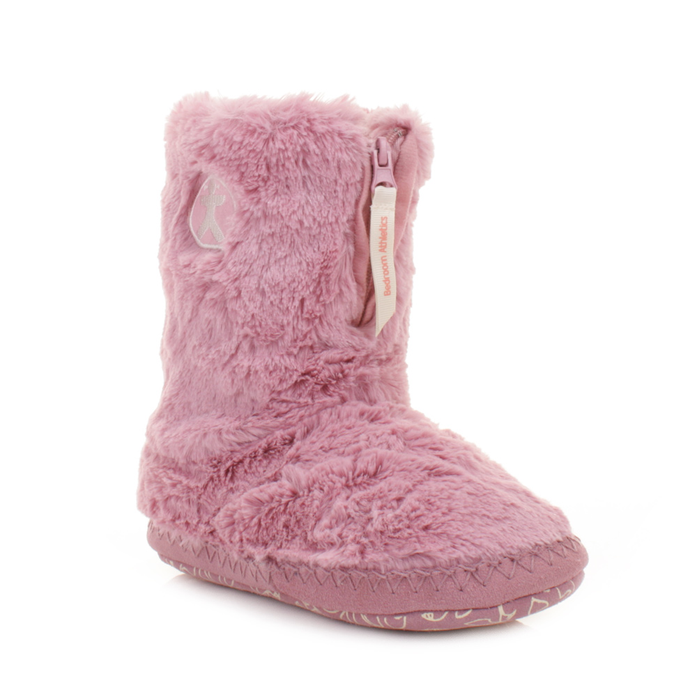 Womens Girls Bedroom Athletics Marilyn Pink Faux Fur Slipper Boots Size 3 4 7 8 Ebay