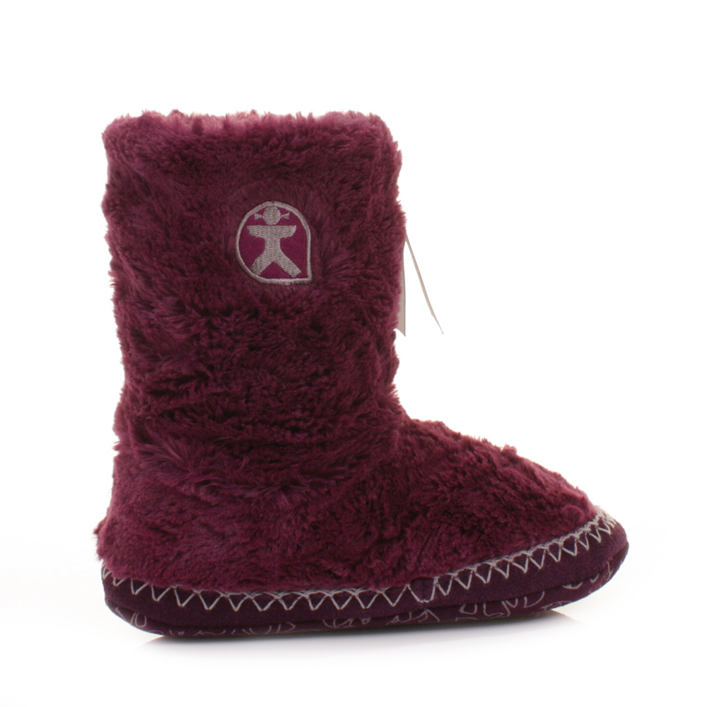 womens girls bedroom athletics marilyn plum faux fur slippers boots size 3 4 7 8