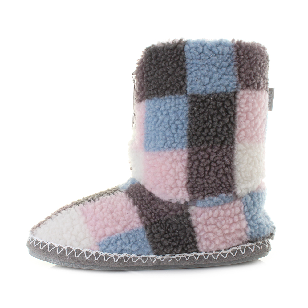 womens bedroom athletics macgraw pink sky sherpa fleece slipper boots shu size ebay. Black Bedroom Furniture Sets. Home Design Ideas