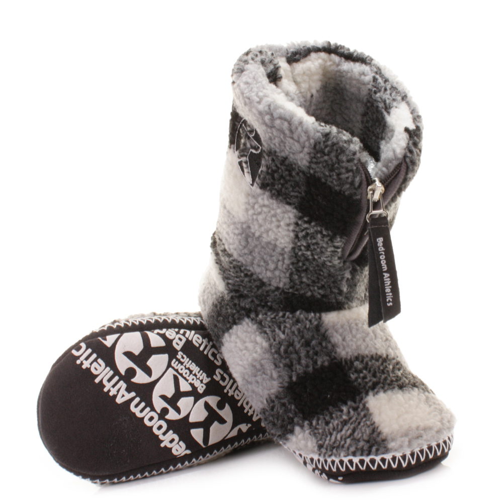 Mens Slipper Boots Bedroom Athletics Mcqueen Fleece Grey