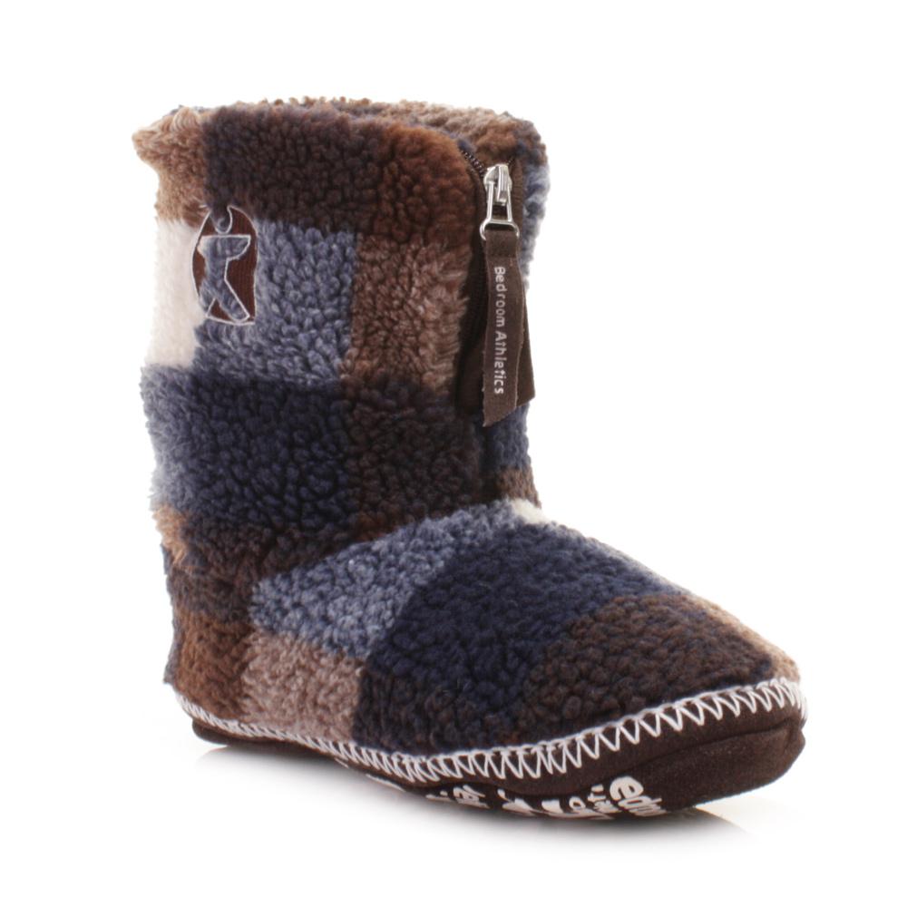 mens bedroom athletics mcqueen navy choc white fleece slipper boots size 3 4 9 1 ebay