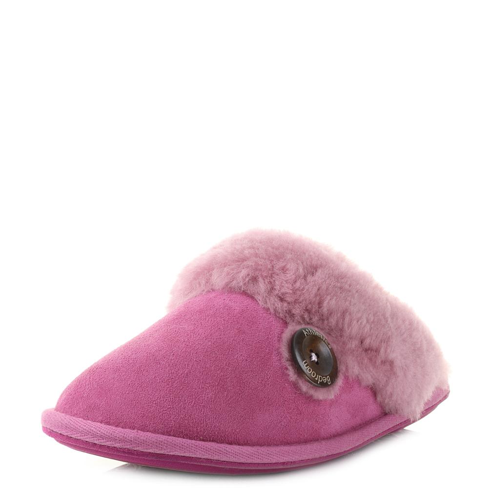 womens bedroom athletics molly pink skeepskin mule