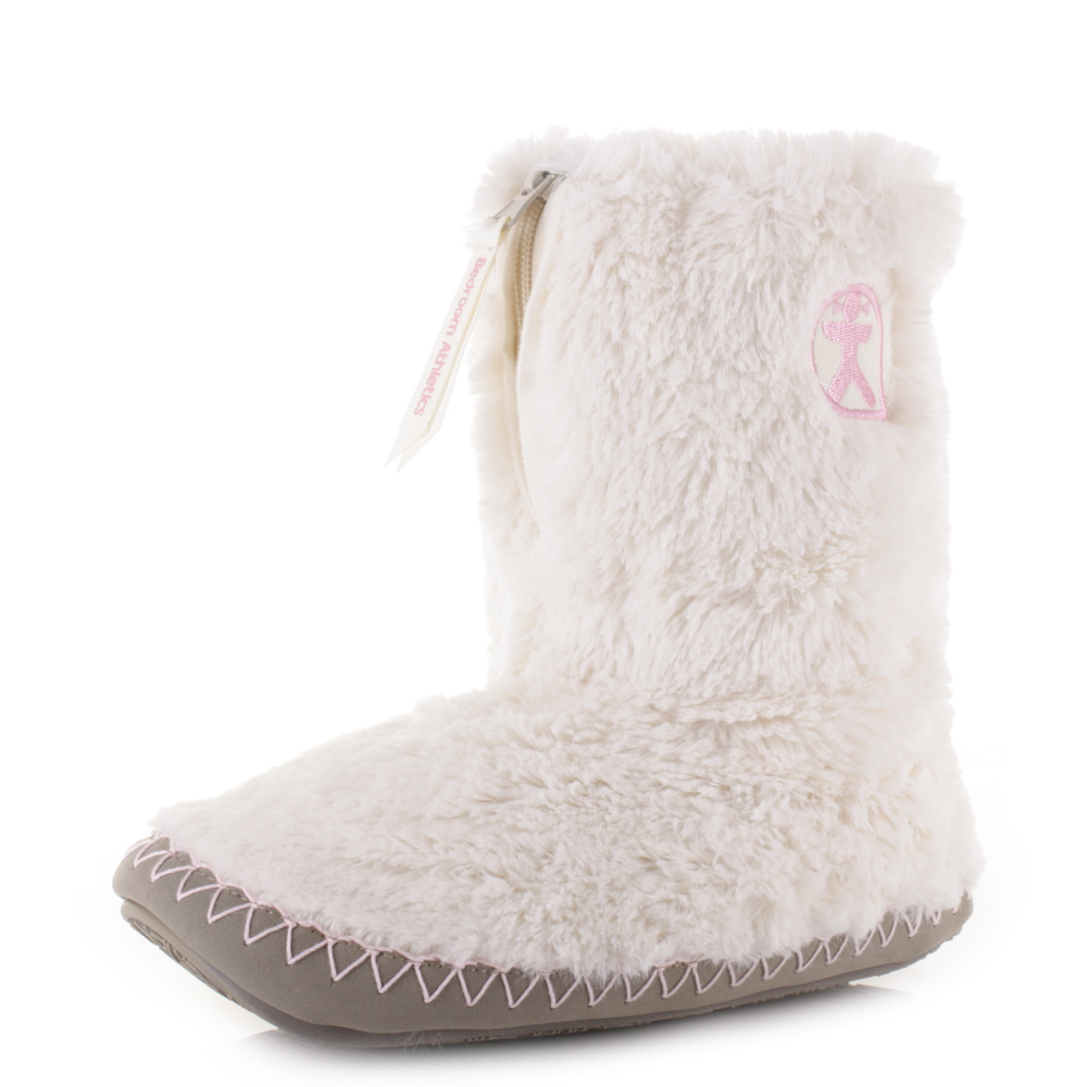 womens bedroom athletics monroe cream moonrock faux fur slipper boots
