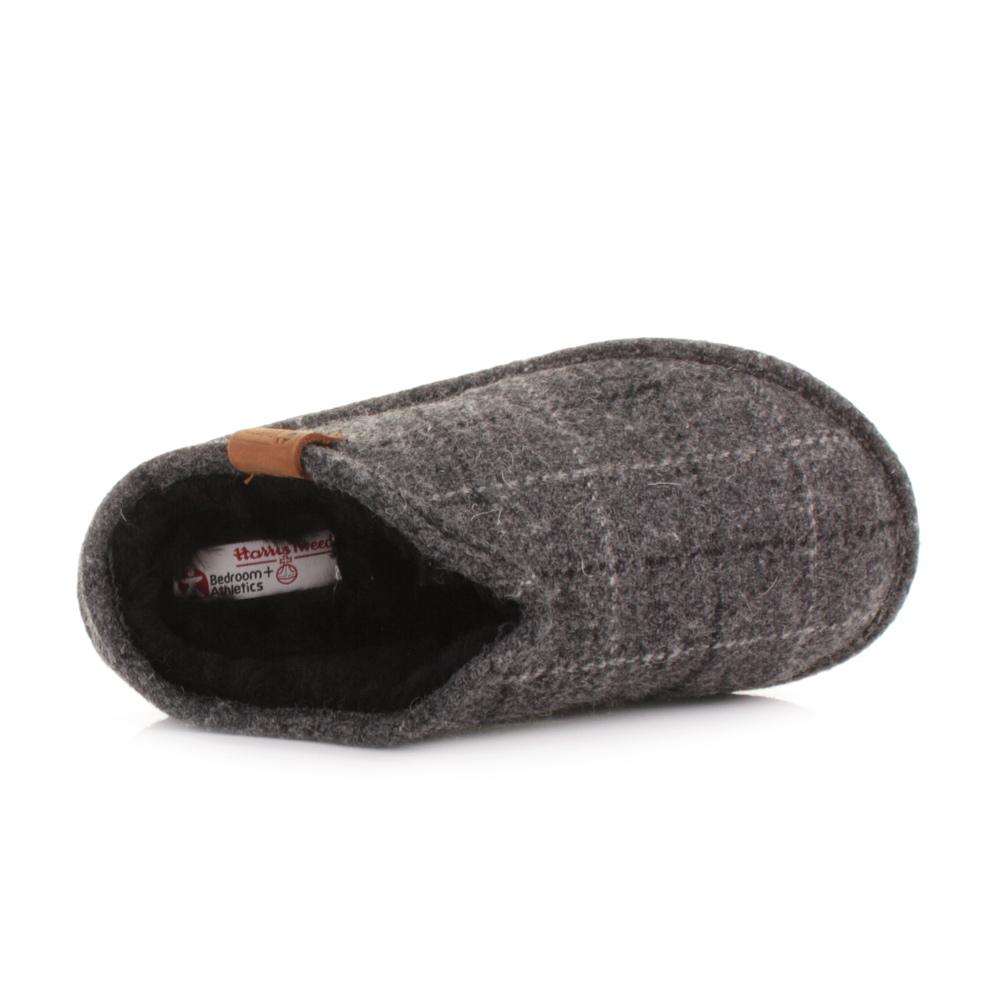 Mens Leather Bedroom Slippers Bedroom Athletics William Grey Check Harris Tweed Shearling