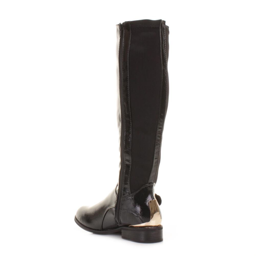 womens black patent gold cap flat elasticated knee