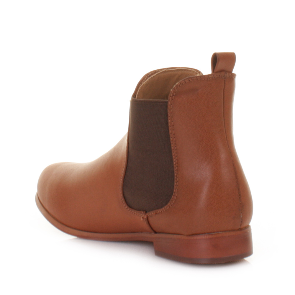 Women Pull On Leather Style Flat Casual Chelsea Ankle Boots Size 5 ...