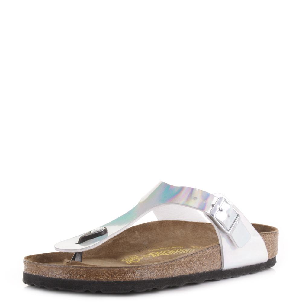Womens Birkenstock Gizeh Mirror Silver Flat Footbed ...