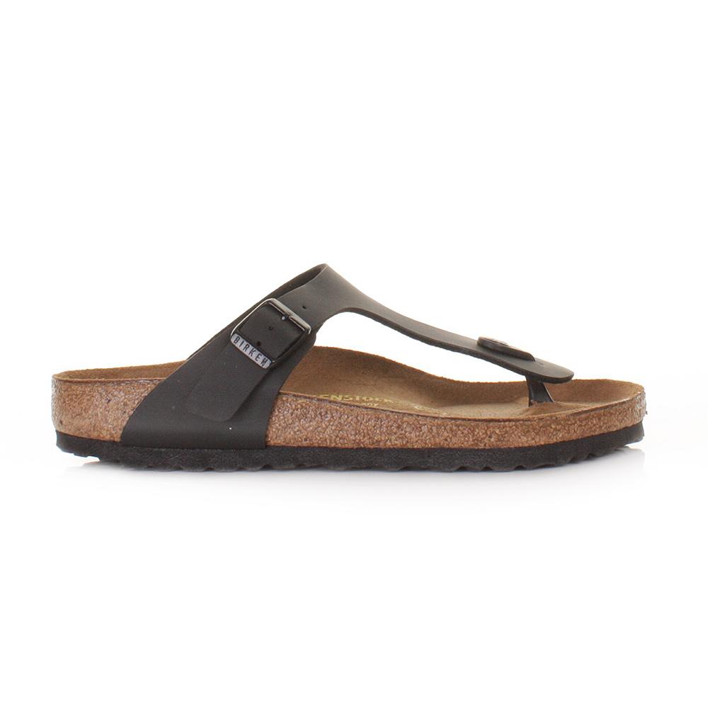 womens birkenstock gizeh black leather footbed sandals