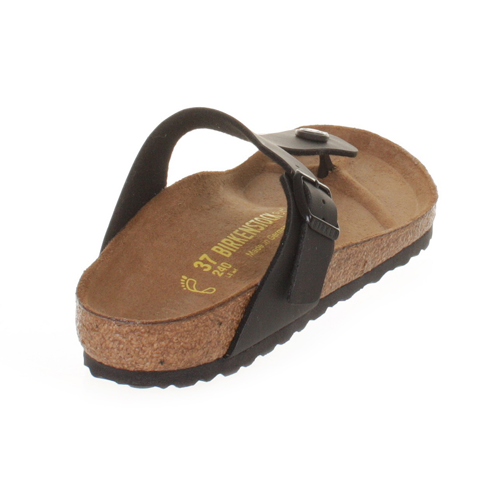 WOMENS BIRKENSTOCK GIZEH BLACK LEATHER FOOTBED SANDALS LADIES SHOES