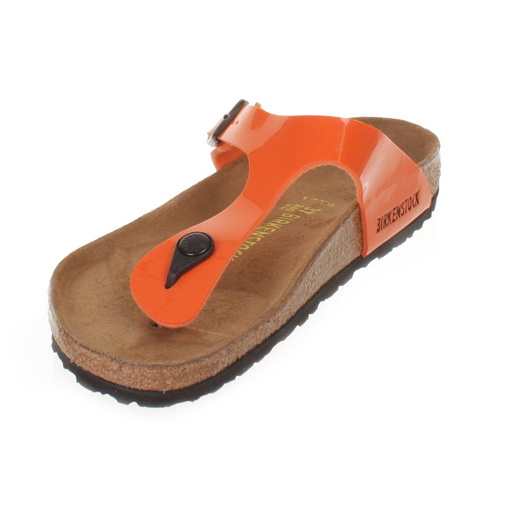 sandalen damen schuhe birkenstock gizeh orange lack leder. Black Bedroom Furniture Sets. Home Design Ideas
