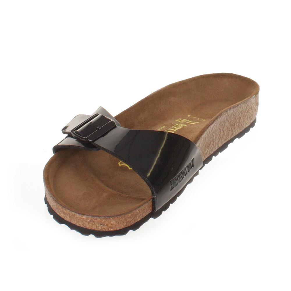 Black patent sandals uk - Womens Birkenstock Madrid Black Patent Lack Footbed Ladies Sandals Uk Size