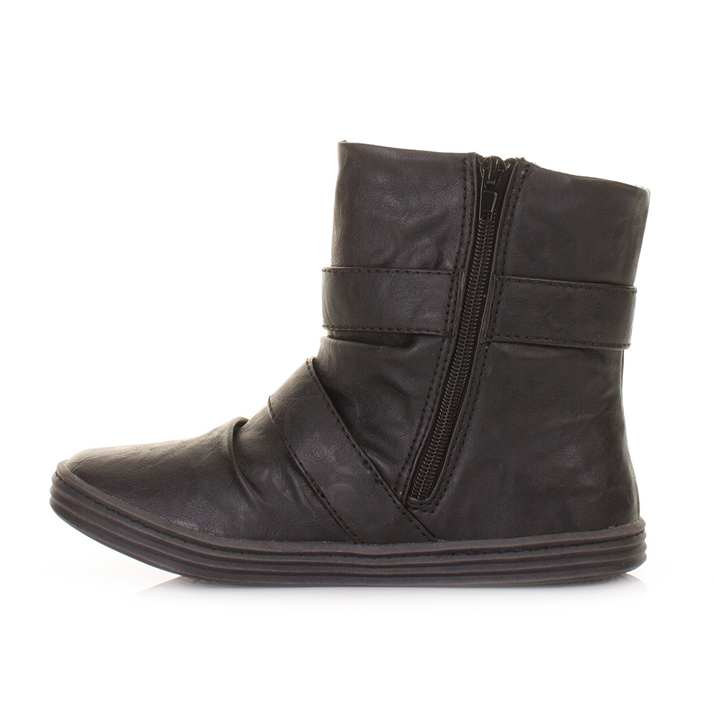WOMENS BLOWFISH RANUKU BLACK RELAX FLAT LADIES CASUAL ANKLE BOOTS ...
