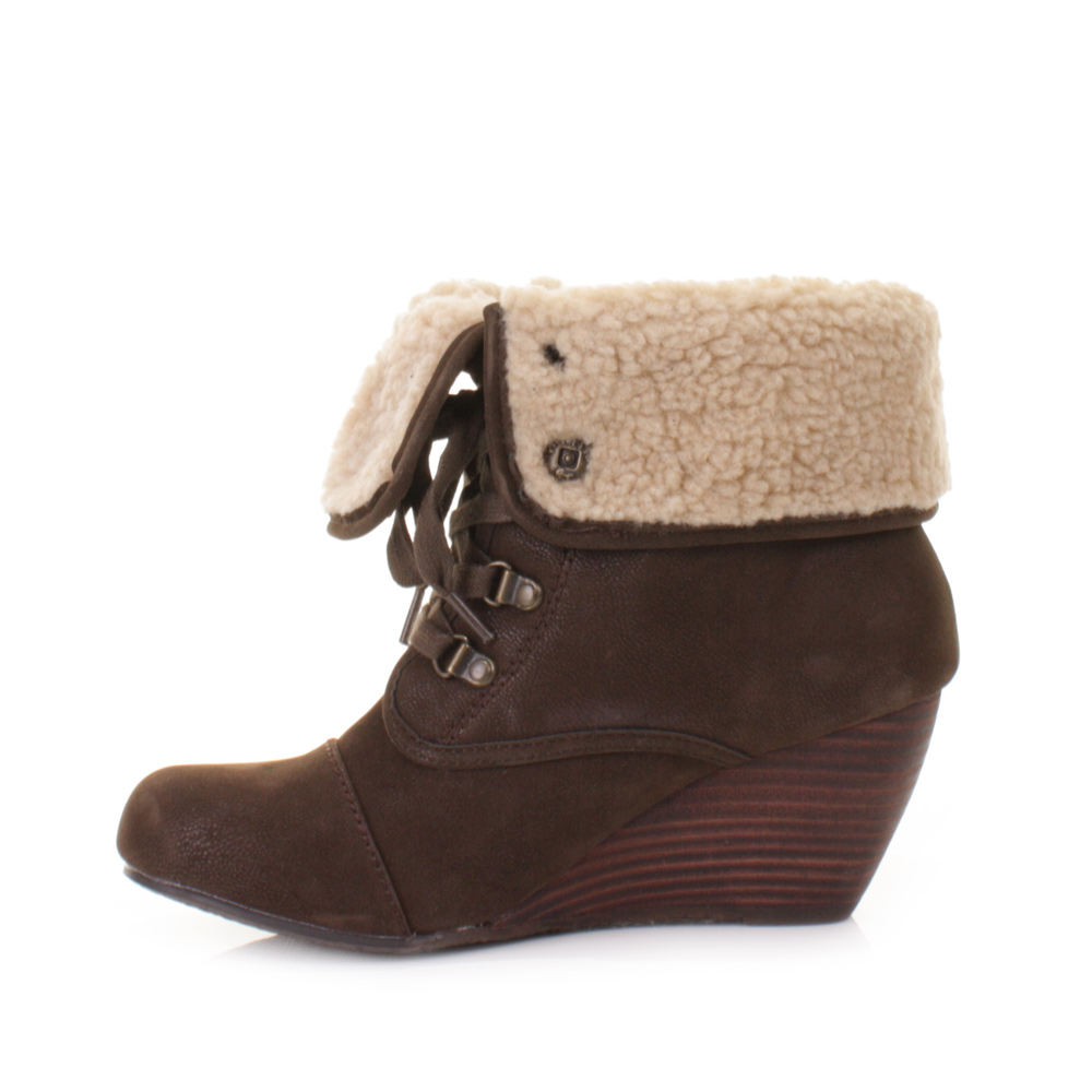 WOMENS BLOWFISH BUSTER BROWN WEDGE HEEL FAUX SHEARLING ANKLE BOOTS ...