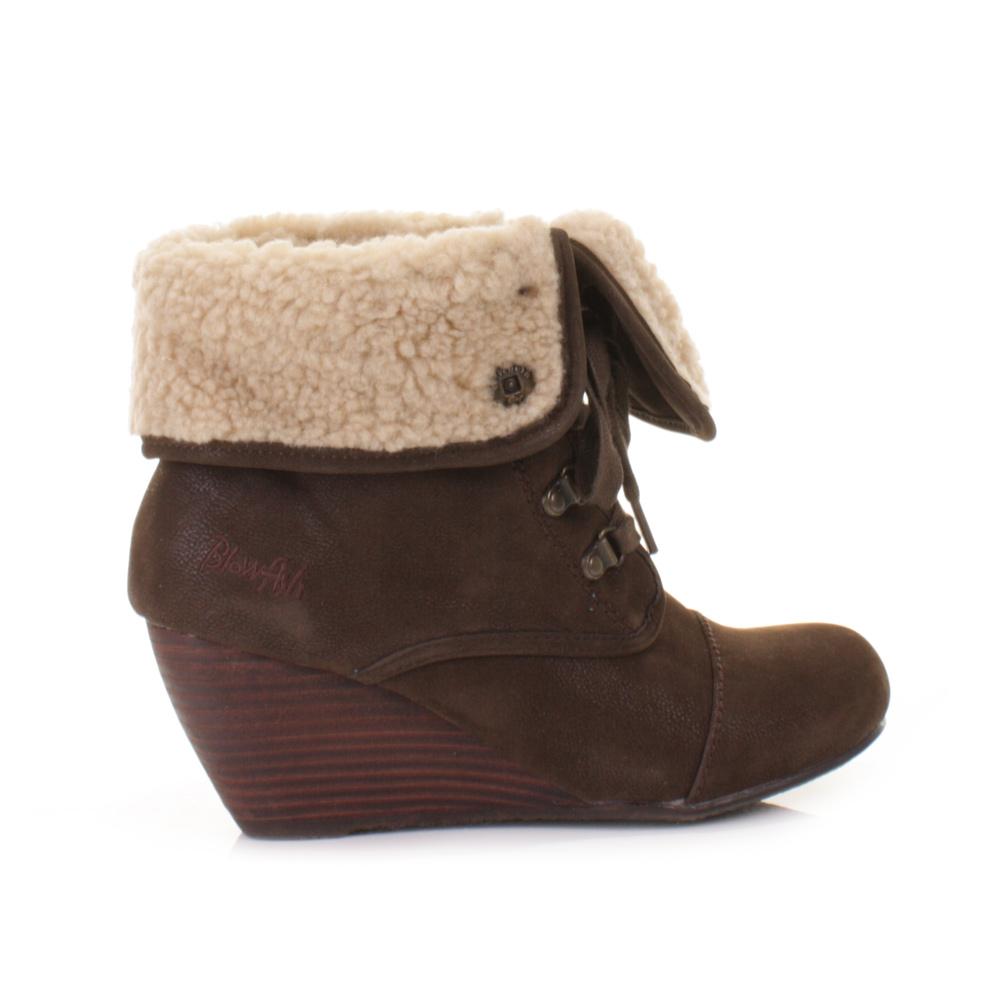 womens blowfish buster brown wedge heel faux shearling