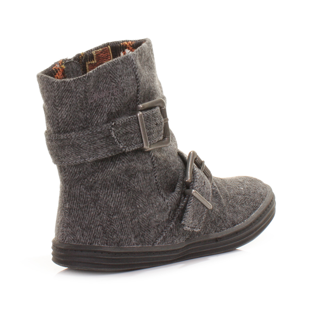 Womens Ladies Blowfish Ranuku Herringbone Gray Flat Casual Ankle ...