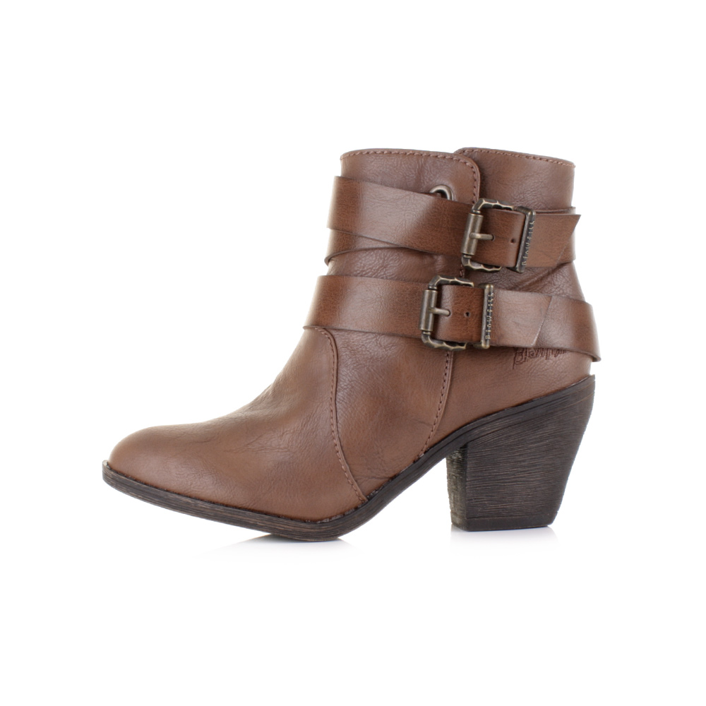 Womens Ladies Blowfish Sworn Coffee Old Saddle Brown Heeled Ankle ...