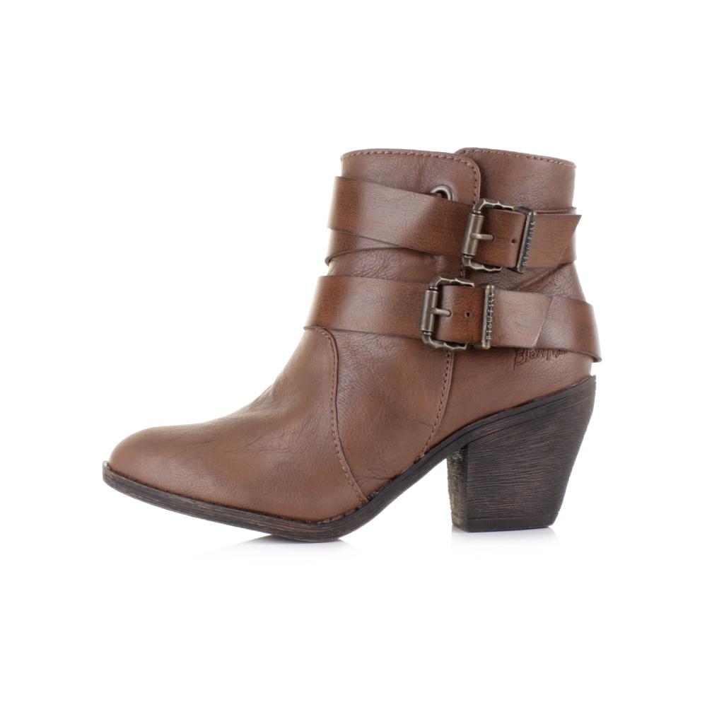 5cf65f0366d5b9 Womens Ladies Blowfish Sworn Coffee Old Saddle Brown Heeled Ankle .