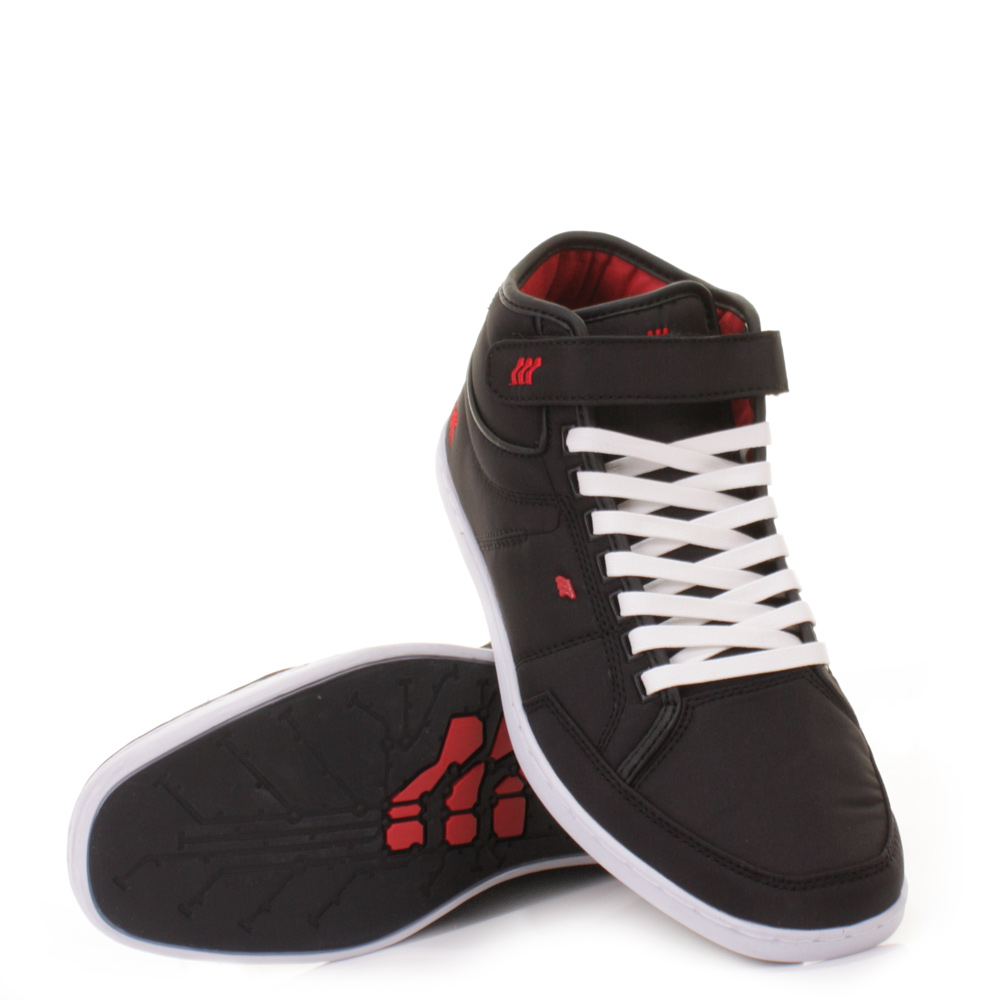 mens boxfresh swich nylon black red trainers ankle boots shoes size 6 12 ebay. Black Bedroom Furniture Sets. Home Design Ideas