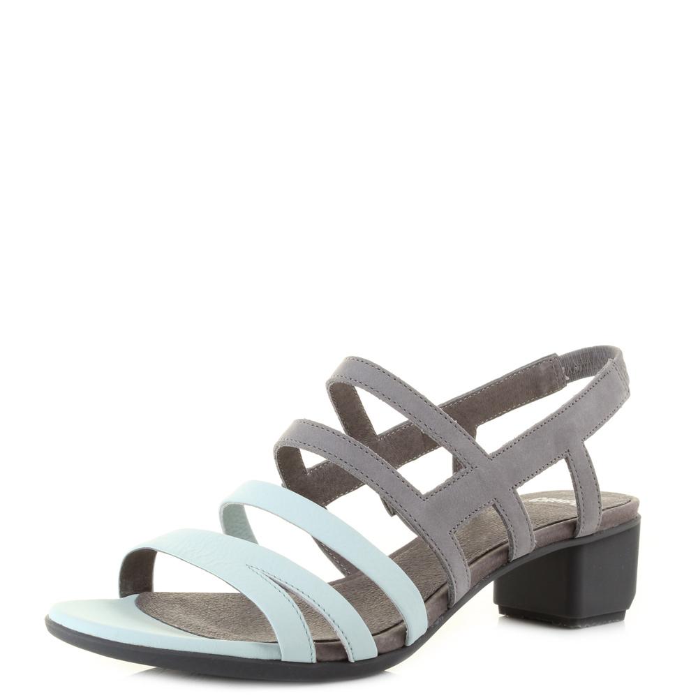 Womens Ladies Camper Beth Blue Grey Leather Strappy Low Heel ...