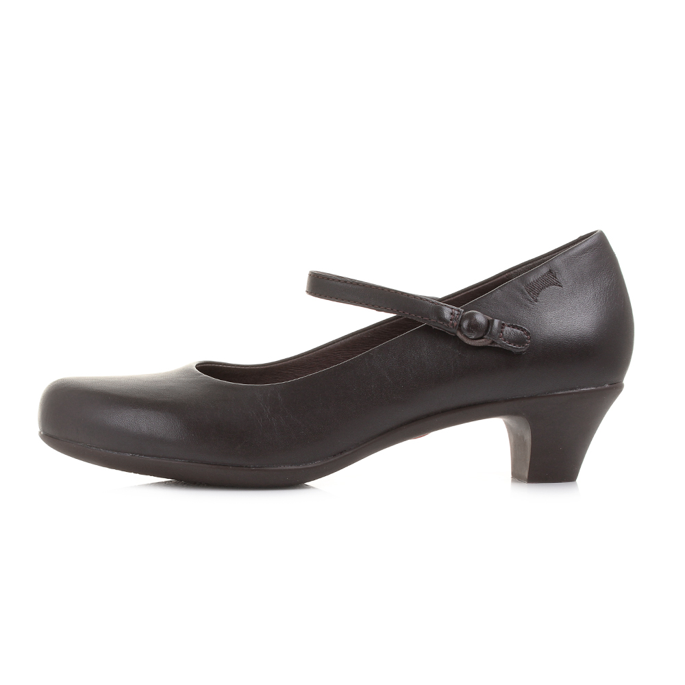Camper Helena Bajo Brown Leather Low Heel Leather Court Shoes