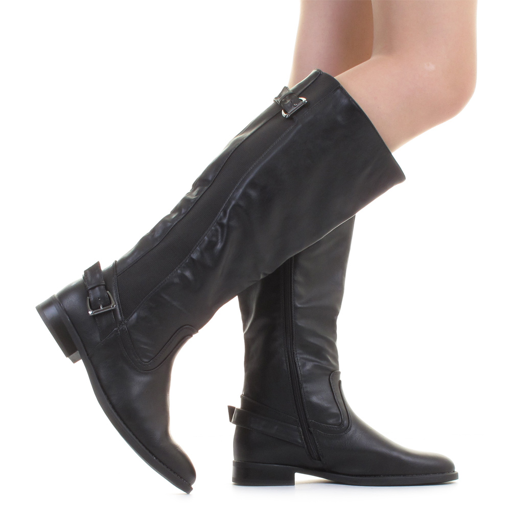 flat boots womens wide calf black stretch leather