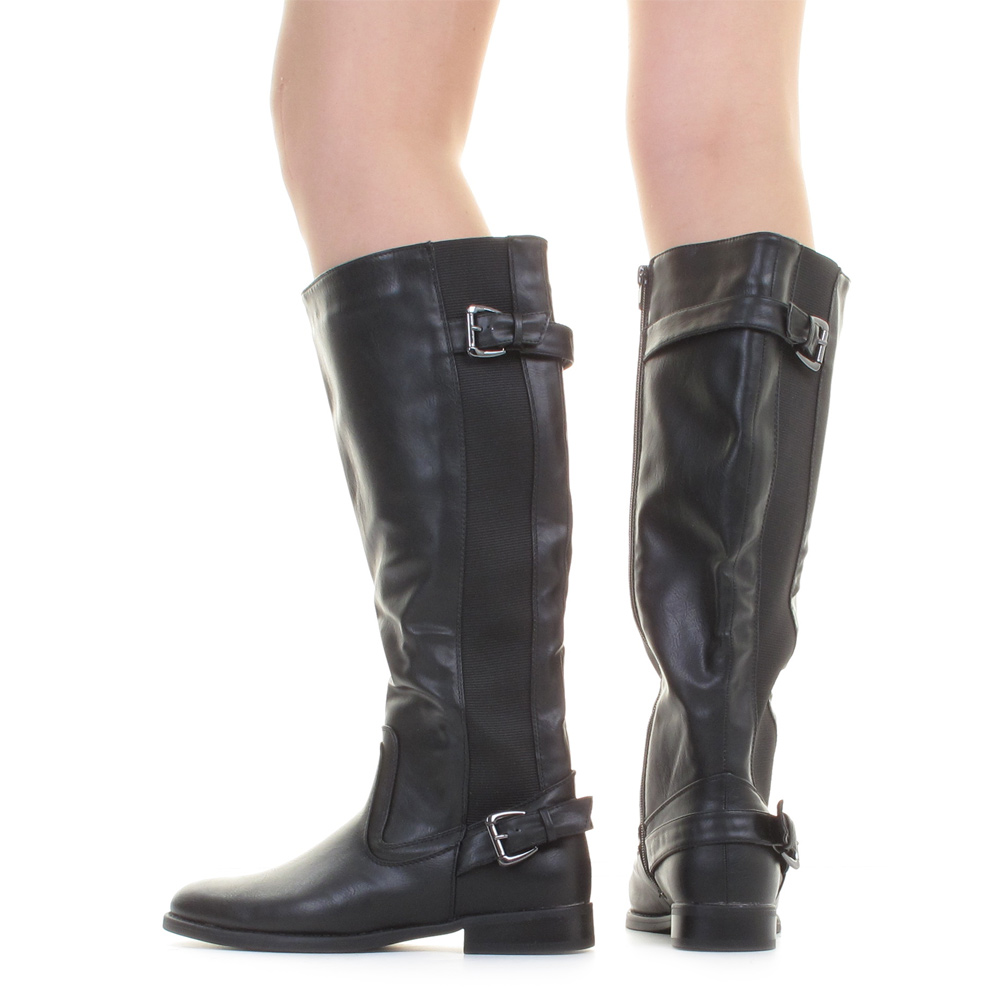 LADIES WIDE CALF BLACK RIDING STRETCH LEATHER LOOK LADIES FLAT ...
